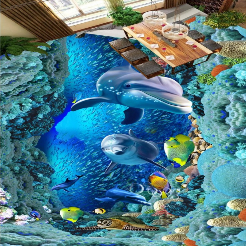 Free Shipping Sea World Dolphin 3D floor thickened wear non-slip bedroom living room kitchen flooring wallpaper mural free shipping realistic large pond carp floor 3d wear non slip thickened kitchen living room bathroom flooring wallpaper mural