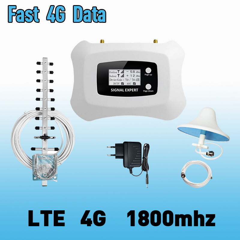 4G Internet Signal Booster 70dB Gain 2G Voice Cellular Repeater LTE 1800MHz 4G Cellular Signal Repeater Mobile Signal Amplifier