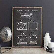 Placa giratoria, impresiones de patente, DJ, vinilo, tocadiscos, póster para sala, decoración de pared de música, Vintage, Blueprint, lienzo, pintura, regalo de músico, idea