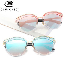 CIVICHIC New Fashion Women Mirror Coating Sunglasses Retro Cat Eye Oculos De Sol Leopard Streetsnap Trendsetter Gafas UV400 E347