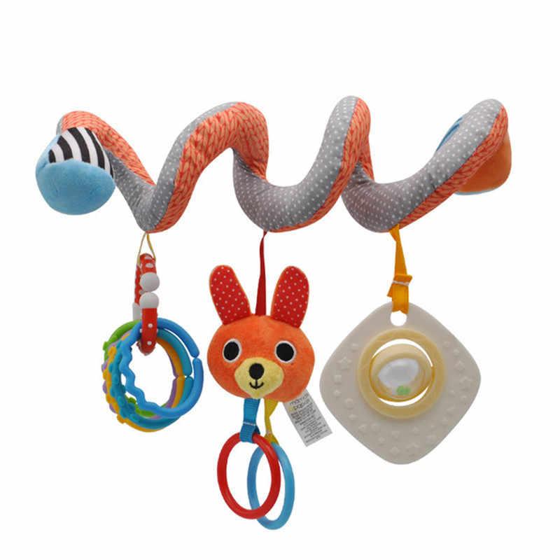 طفل أفخم لعب حشرجة عربة السرير سرير دوامة شنقا المحمول الرضع ألعاب حيوانات هدية ل الوليد قوس قزح عضاضة قلادة لعب