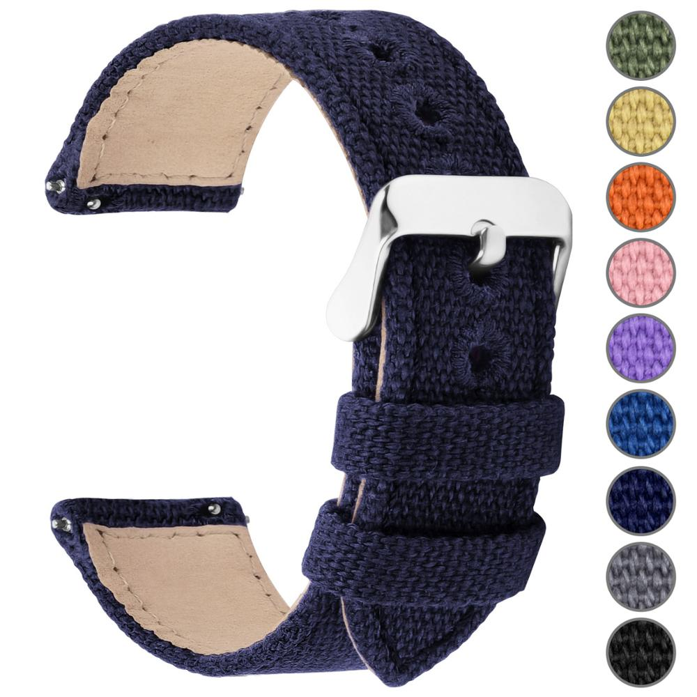 9 Colors For Quick Release Canvas Watch Band, Fullmosa NATO Style Watch Strap 18mm 20mm 22mm 24mm Replacement Watch Straps