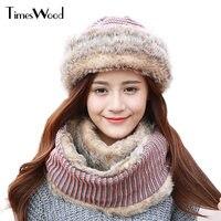 2017 New Hot Knitted Rabbit Fur Hats And Scarf Set Winter Lady Floral Caps Female Headgear Women Fur Beanies Plus Velvet Bonnet