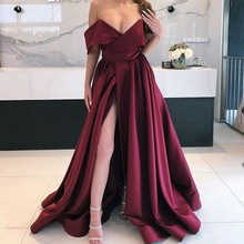 Burgundy Evening Dresses Custom Made robe longo soiree A Line Dress Full Sleeves Long Gown Sexy Slit 2019