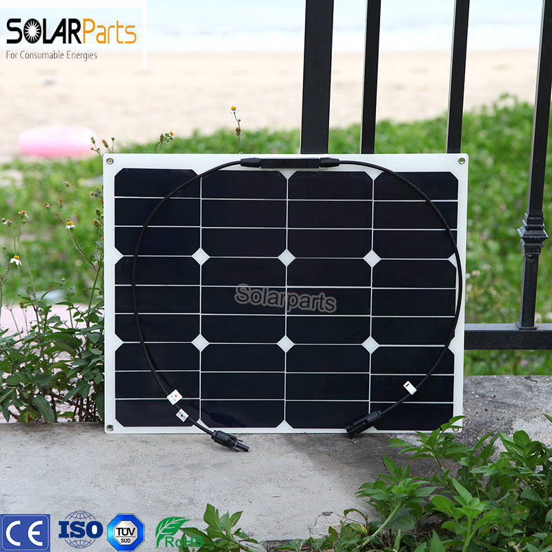 Boguang 1x40W flexible solar panel 12V battery charger efficient cells for aa usb car 18650 battery panneau solaire zonnepaneel 50w 12v semi flexible monocrystalline silicon solar panel solar battery power generater for battery rv car boat aircraft tourism