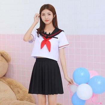 e816f4cde1 UPHYD nueva llegada Anime uniforme de la escuela S-XXL la Escuela de chicas  JK japonés coro uniformes Top + falda + + corbata trajes de marinero