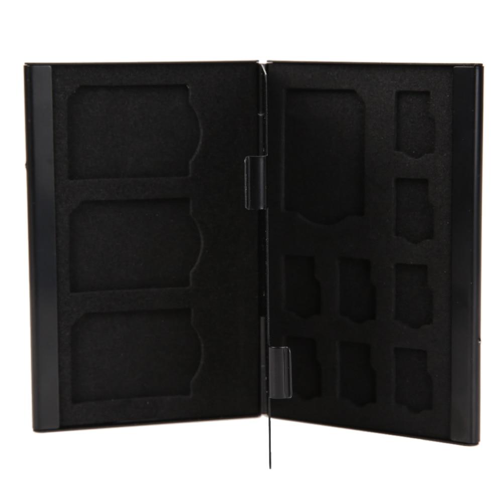 Black Portable Deck Aluminium Alloy 8TF + 4SD Memory Cards Case Storage Box Holder High Quality