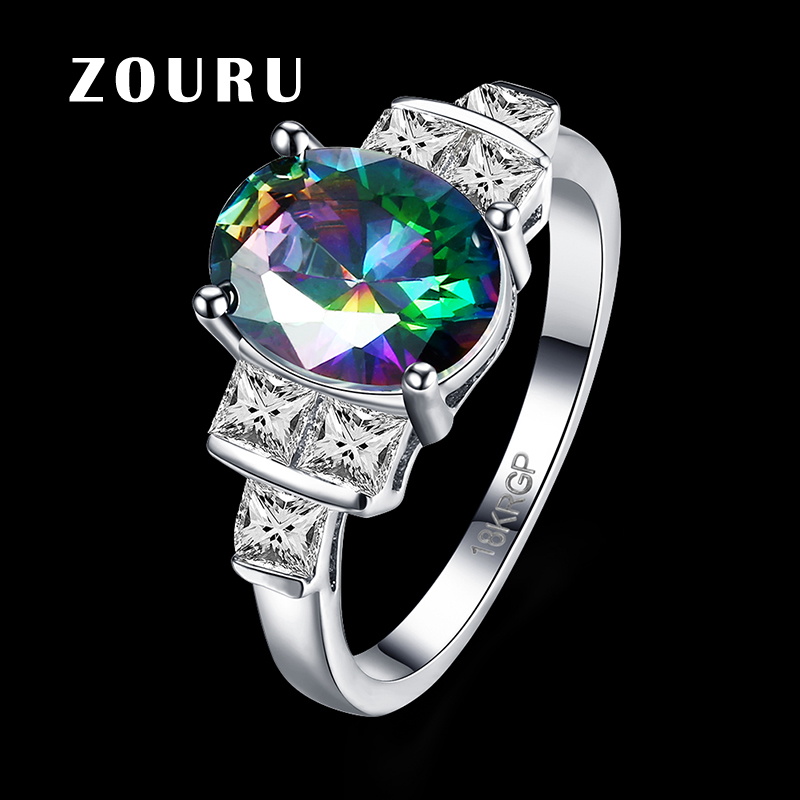 zouru brand new fashion ring white gold plating clearance oval shape colorful aaa cubic zircon ring fine women jewelry bijoux - Clearance Wedding Rings