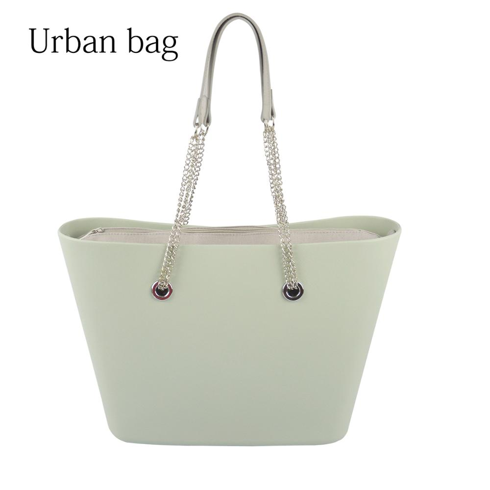 2019 New Big EVA Bag with Inner Pocket Colorful Long Silver Chain Handles Obag Style Waterproof