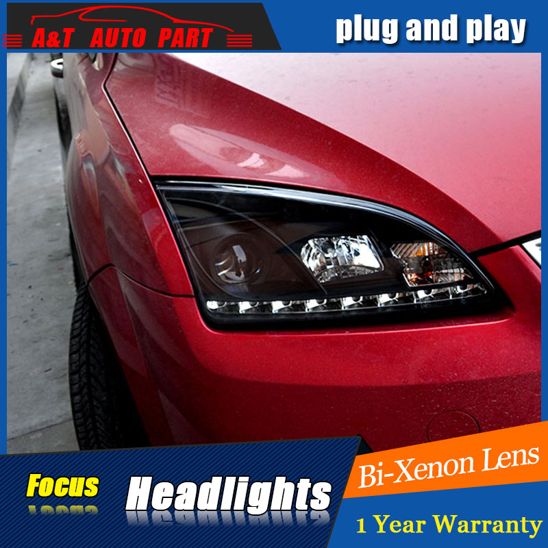 Auto part Style LED Head Lamp for Ford Focus led headlights 2005-2007 for Focus drl H7 hid Bi-Xenon Lens angel eye low beam auto lighting style led head lamp for mazda 3 axe headlights for axela led angle eyes drl h7 hid bi xenon lens low beam