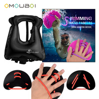Adults Unisex OMOUBOI Swimming Security PFDs Black Swim Paddles Hand Gloves Fins With Over Head Inflatable Snorkel Rescue Vest