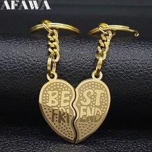 2 PCS 2019 Fashion Best Friend Stainless Steel Keychains for Gold Color Keychain Jewelry porte clé pour femme K77632B