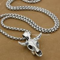 LINSION 925 Sterling Silver Charm Big Buffalo Skull Bull Horn Mens Biker Pendant 8P013 Stainless Steel Necklace 24 inches
