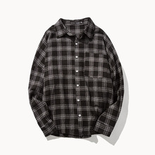 Japanese Original Japanese Retro Feel Awesome Cotton Plaid Shirt Xl Loose Sleeved Shoulder Drop