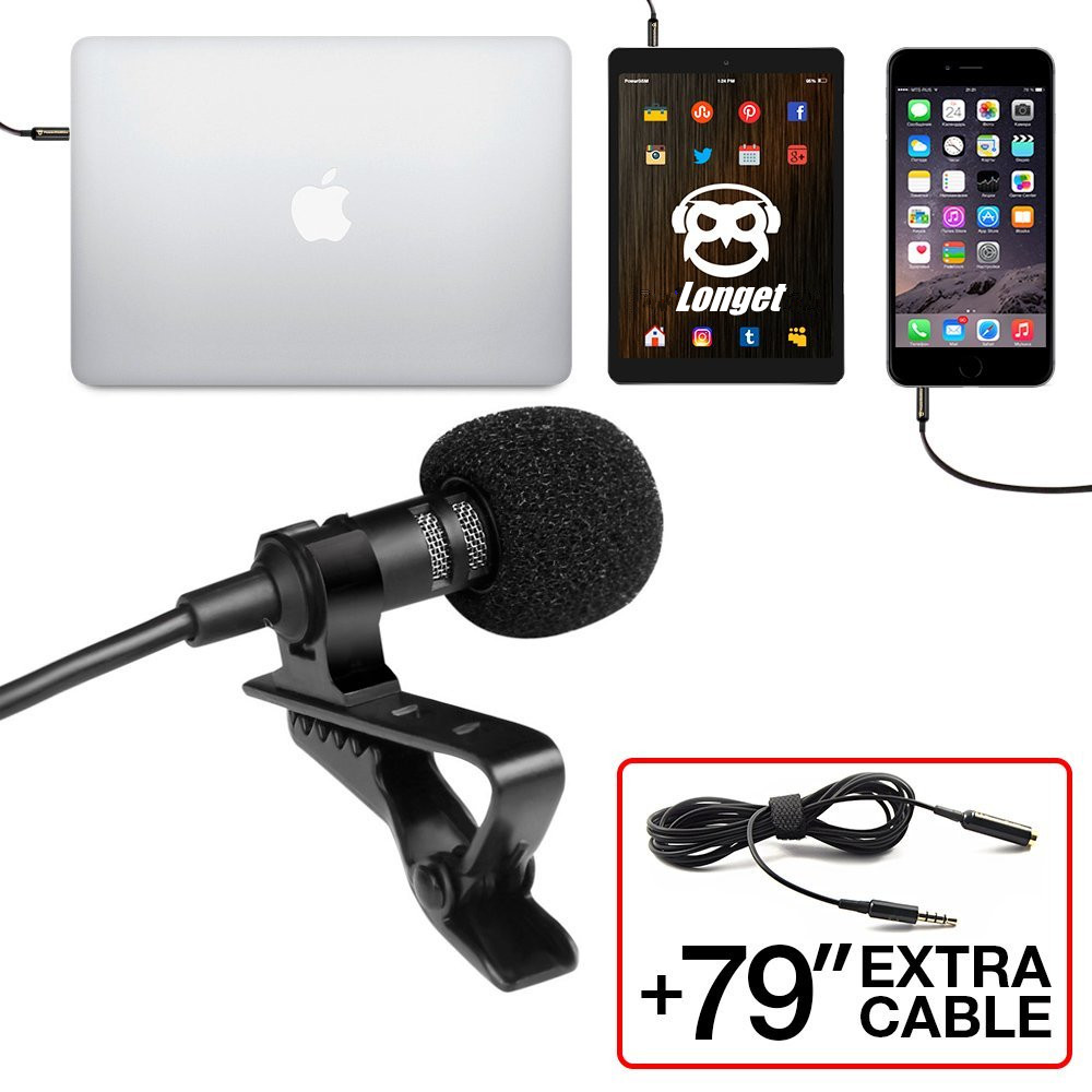 Professional Grade Lavalier Lapel Microphone Omnidirectional Mic with Easy Clip On Perfect for Recording Youtube/ Interview etc image