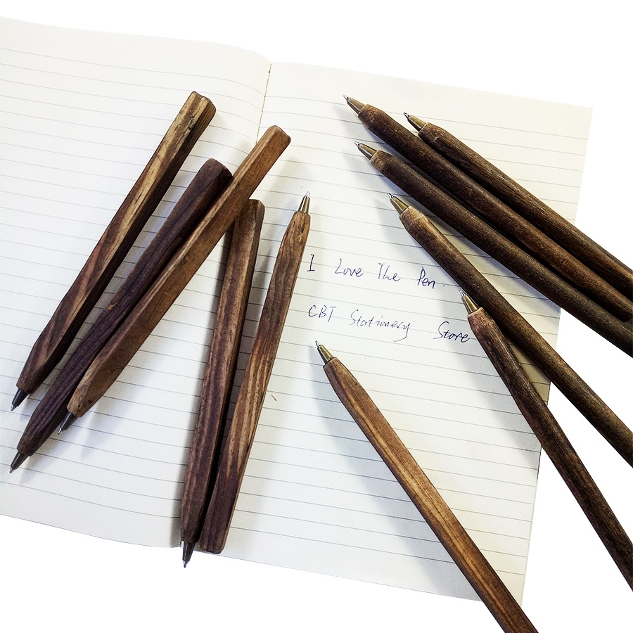 50 Pcs/lot Vintage Round&Square Wooden Ballpoint Pen Individualization Wood Ball Pen School Office Supplies wholesale