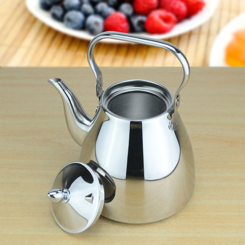 Sanqia high quality simple style stainless steel lift pot metal teapot with filter tea kettle with strainer infuser