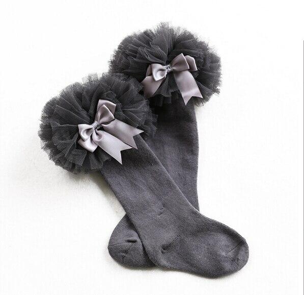 2019 Spring new children's tube socks girls in tube socks infant cotton sweet gauze lace bow princess socks 1