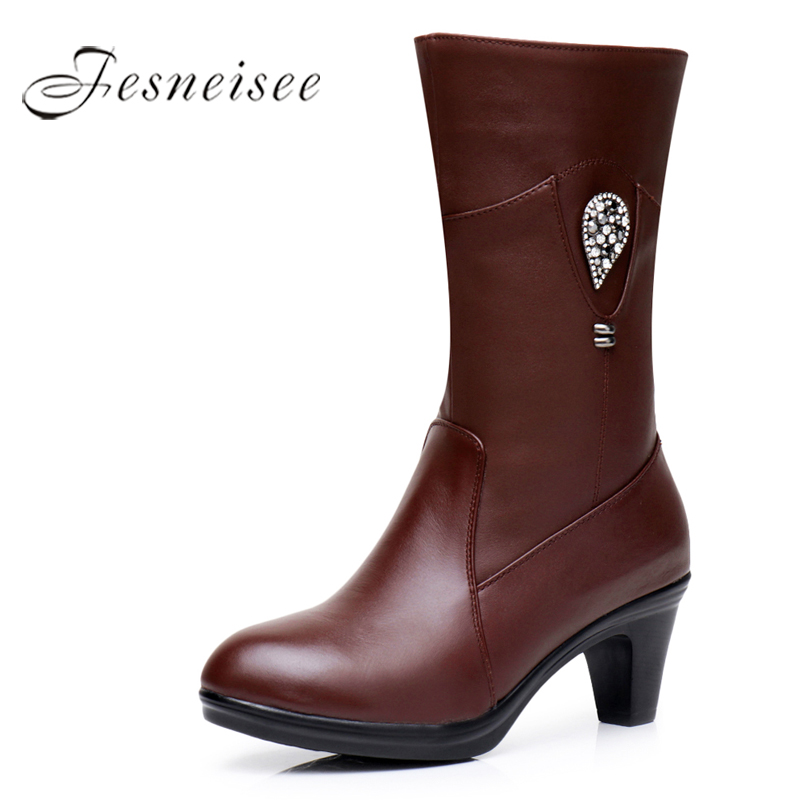 2017 New Winter Mid Calf Boots Woman Boots Genuine Leather Round Toe High Heels Rain Boots Crysta decoration Shoes Size 35-40 M4 genuine leather square toe mid calf boots autumn winter boots warm shoes woman thick high heels shoes for women boots