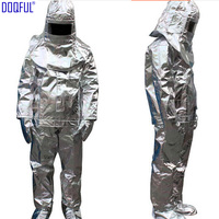 High Quality 500 Degree Thermal Radiation Heat Resistant Aluminized Suit Fireproof Clothes Firefighter Uniform High Temperature