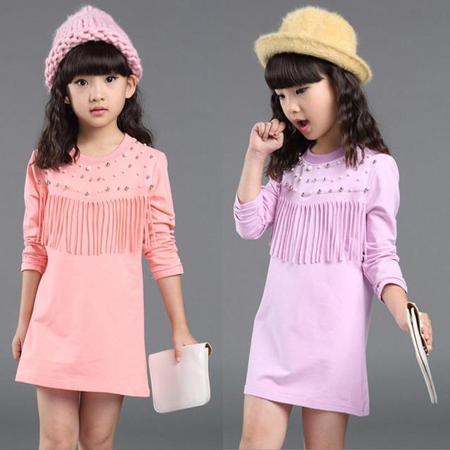 Хлопковое платье для девочек, Повседневные детские платья с длинными рукавами и бусинами и кисточками для девочек 3, 4, 5, 6, 7, 8, 9, 10, 11, 12 лет, детская одежда