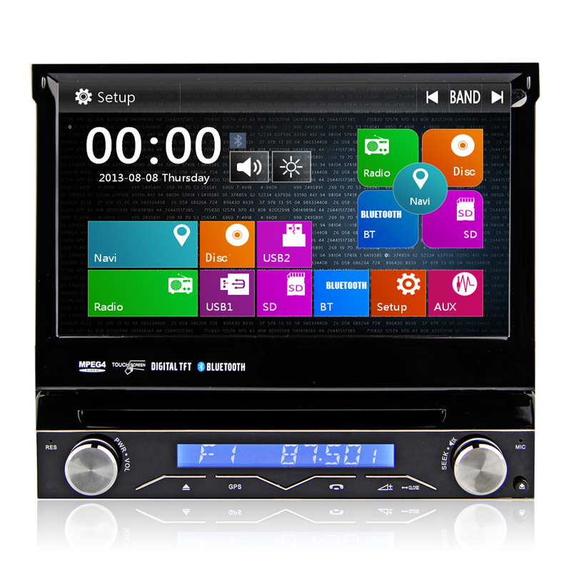 7 inch single DIN Car DVD Player 1 din universal Car Radio Stereo with Bluetooth Steering Wheel Control free map image