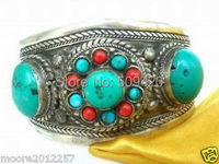 XFS2335 Tibet Silver Turquoise Coral Beads Cuff Bracelet