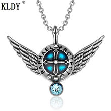 KLDY Angel Wings Protection Shield Magic Powers Sky Blue Crystal Pendant & Necklace Stainless Steel High Quality Charm Jewelry(China)