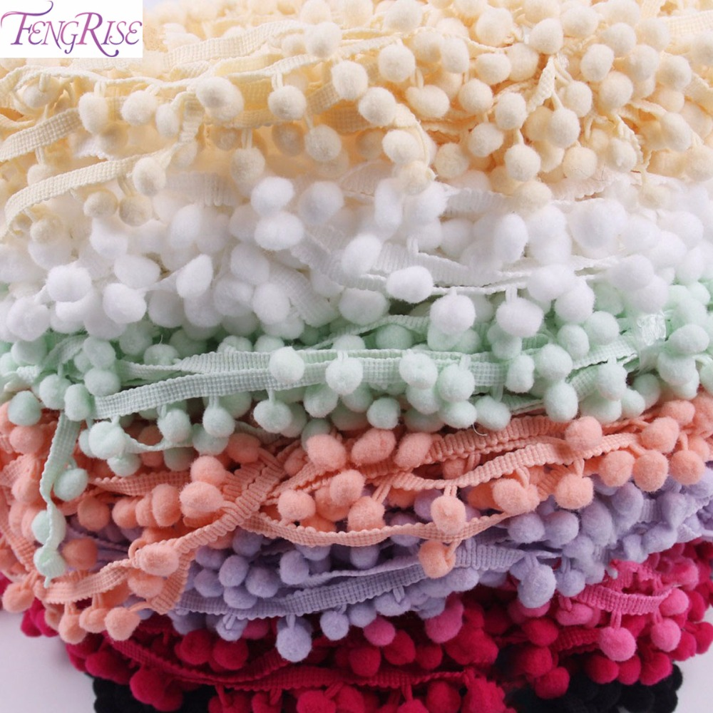 FENGRISE Lace Fabric 5 yard 1cm Sewing Accessories Pompom Trim Pom Pom Decoration Tassel Ball Fringe Ribbon DIY Material Apparel
