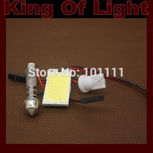1xT10 BA9S Festoon 3 Adapters COB 21 chips white Light 12V LED reading Panel Car interior Dome light free shipping
