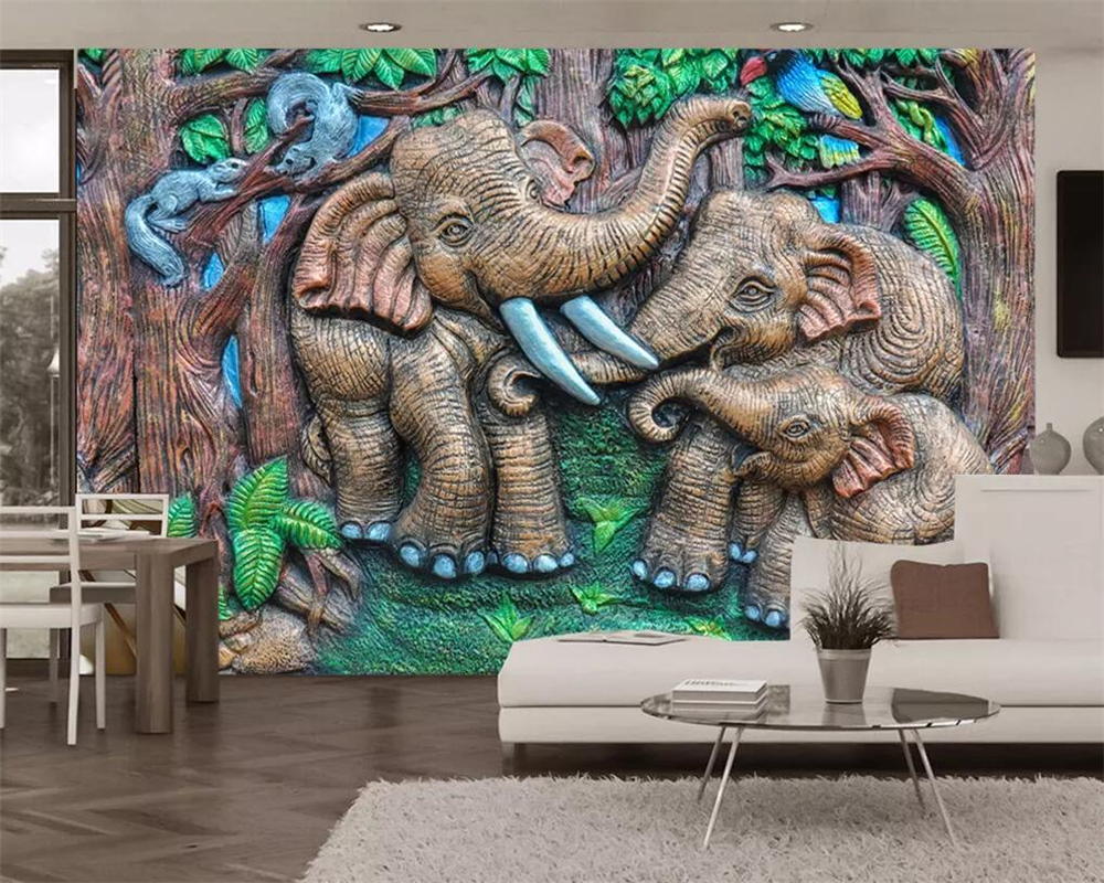 US $8 4 OFF Beibehang Custom Wallpaper 3d Photo Mural Stereo Relief Woodcarving Forest Elephant Children S Room Mural Background Wall