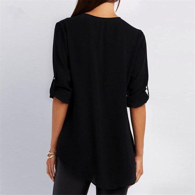 5XL 2021 Autumn Women Chiffon Blouse Large Size Tops Sexy V Neck Loose Casual Blouse Female Zipper Plus Size Blue Shirt Blusas 5