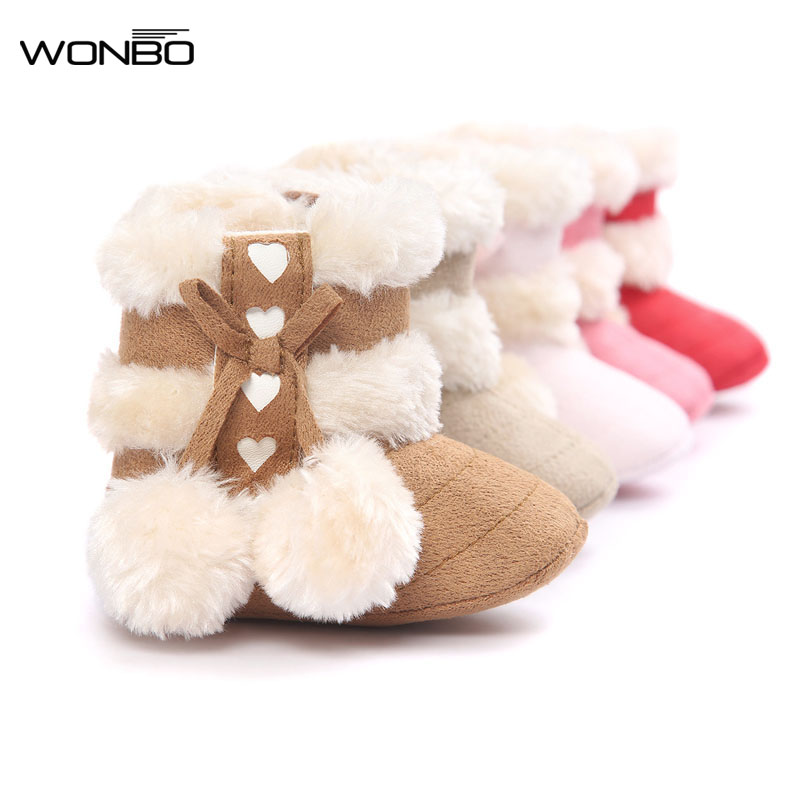 2018 Cute Ball Winter Boots Fashion Soft Bottom Baby Moccasin Baby First Walkers Baby Warm Boots Non-slip Boots For Baby Girls