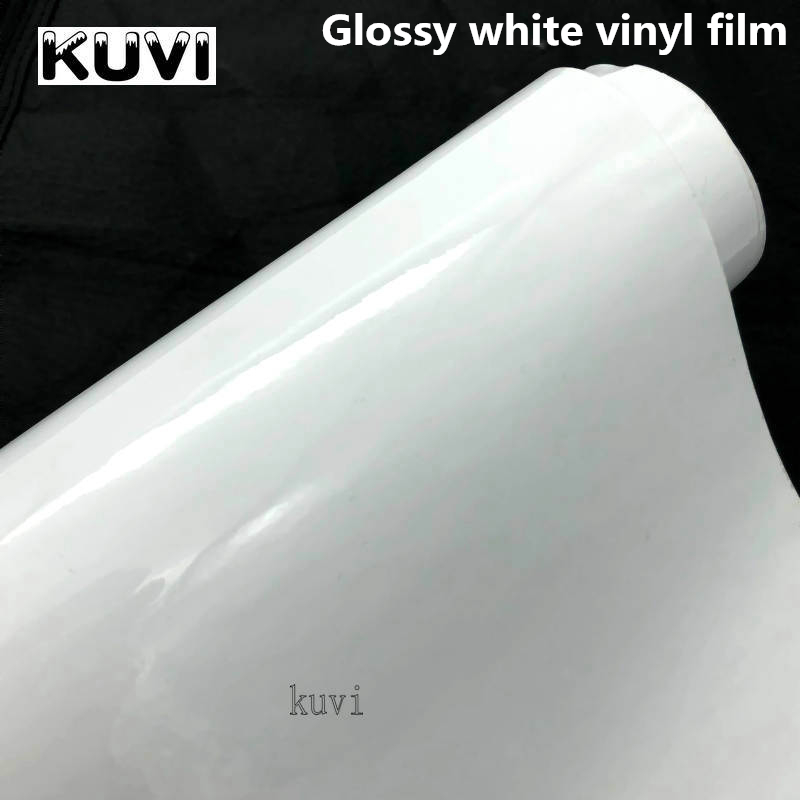 Bright White Vinyl Car Decal Wrap Sticker Black White Gloss Film Wrap Retail For Hood Roof Motorcycle Scooter Car Truck Styling