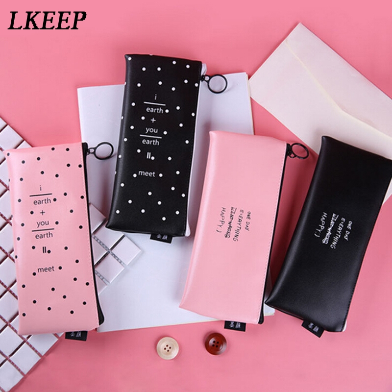 PU Leather Women Cosmetic Bag Creative Simple Letter Wave Waterproof Makeup Organizer Bag Travel Toiletry Make Up Pouch Neceser