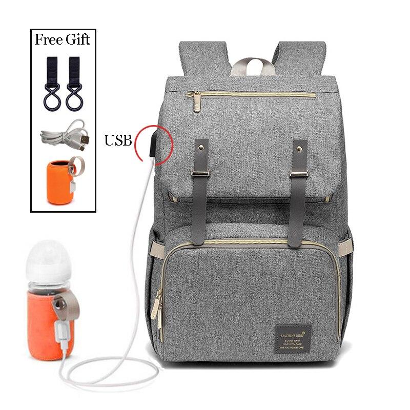 De moda de gran capacidad bebé pañal bolsa mamá viaje mochila mujer de bolsas para mamá de carga USB de la botella de leche bolsas mochila feminina