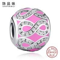 Shipinwei Hakiki 925 Ayar Gümüş Pembe Emaye Charms Fit SPW Bilezik ve Bilezikler Temizle CZ Kristal Infinity Numarası 8 Boncuk