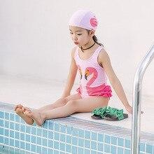 2018 Toddler Kids Swimwear Swan Flamingo Bathing suit One piece Baby Girls Bodysuit With Swimming Cap