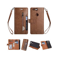 Luxury PU Leather Zipper Wallet Case For Oneplus 5T Flip Cover Strap Magnetic Closure Soft TPU