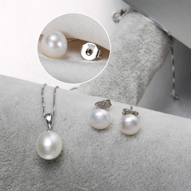 925 Sterling Silver Freshwater Pearl Pendant Necklace with Studs Earrings Jewelry Set