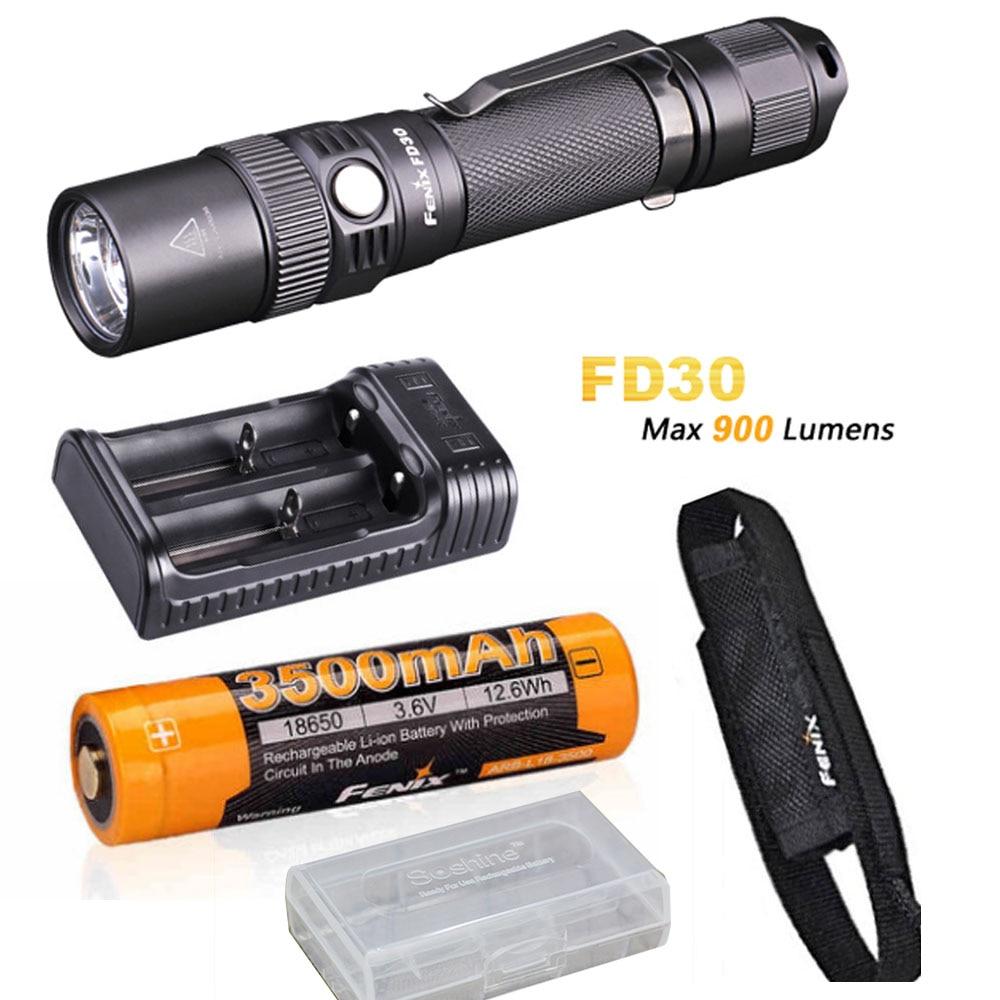Fenix FD30 900 Lumen Zoomables Rechargeable Tactique LED lampe de Poche avec Fenix 3500 mAh 18650 Batterie, ARE-X2 Chargeur