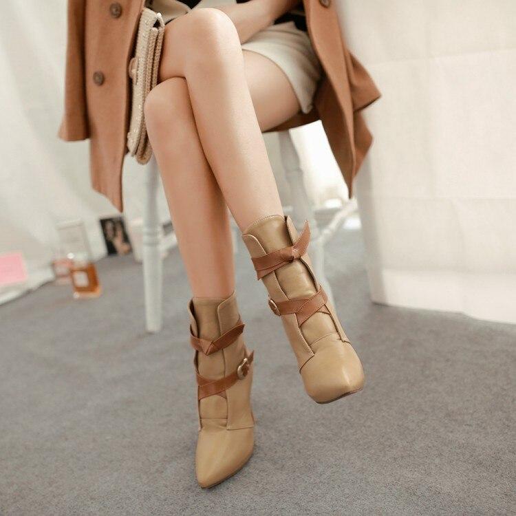 2017 Real Botas Mujer Shoes Woman Fashion Motocicleta Mulheres Martin Outono Inverno Botas De Couro Boots Femininas Women H2207