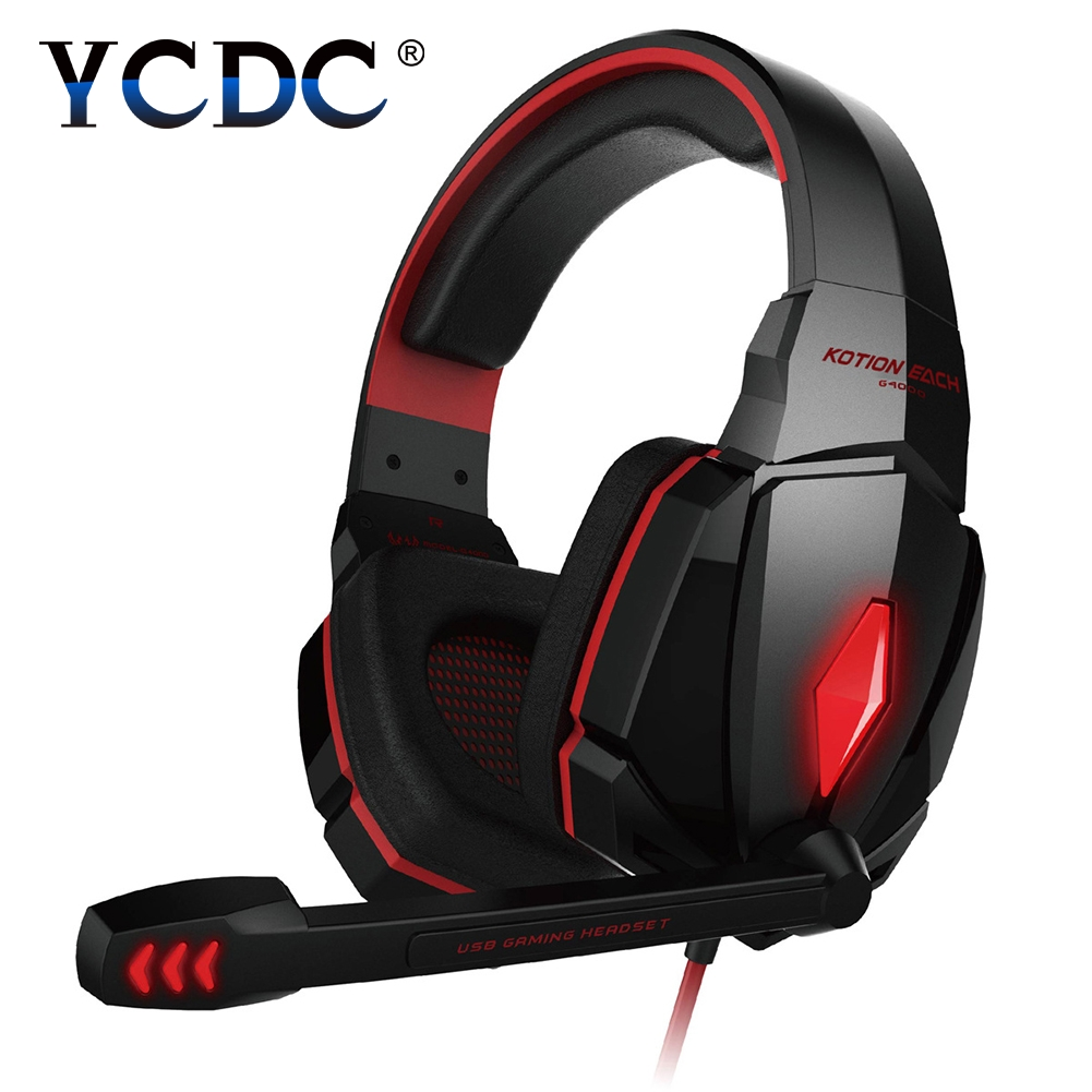 Computer Stereo Gaming Headphones Kotion EACH G4000 Best casque Deep Bass Game Earphone Headset with Mic LED Light for PC Gamer original xiberia v2 led gaming headphones with microphone mic usb vibration deep bass stereo pc gamer headset gaming headset
