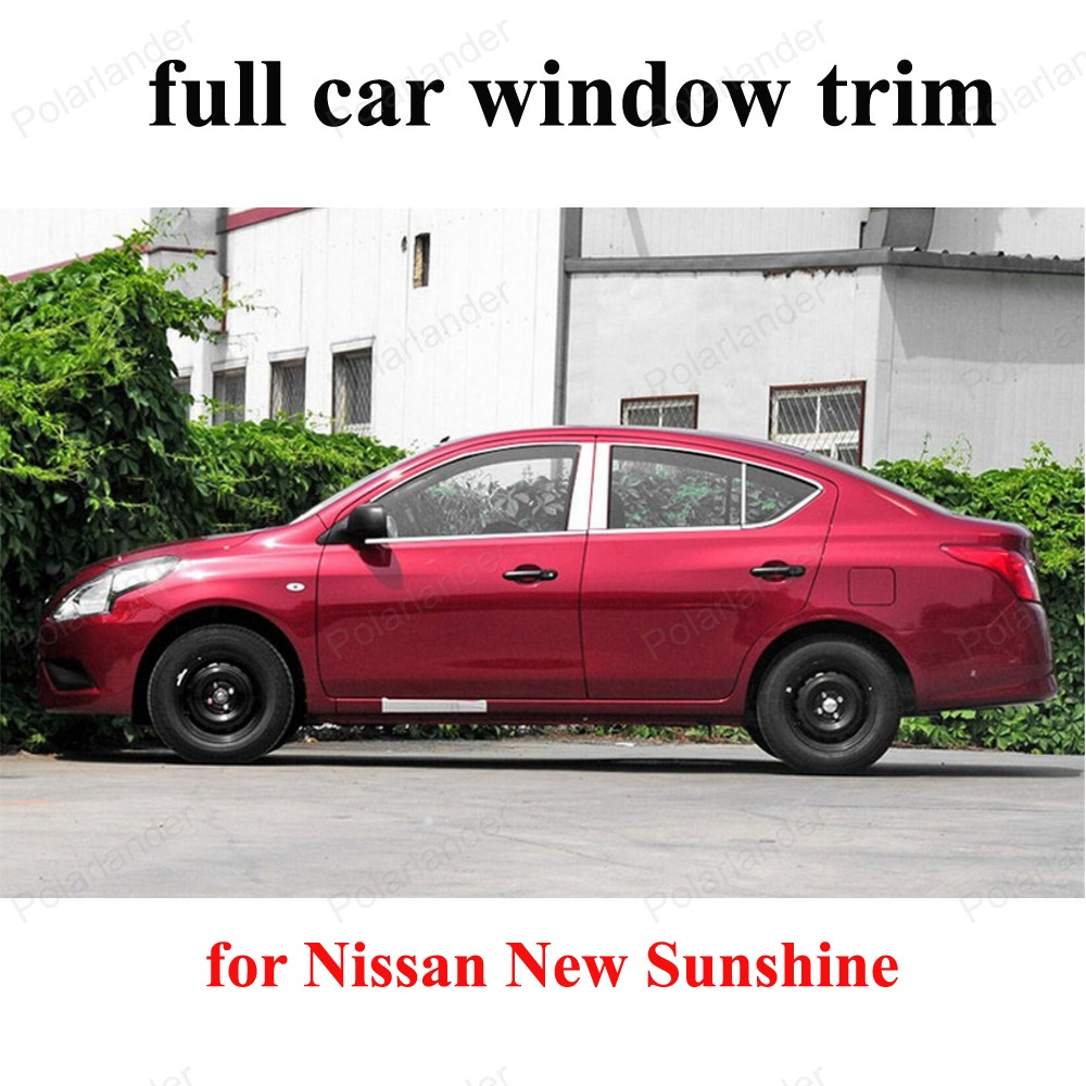 For N issan New Sunshine  Exterior Car Accessoires Stainless Steel full Window Trim with center pillar decoration strip|window trim|stainless steel trims|stainless steel pillars - title=