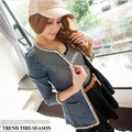 2014 Hitz stretch denim chain in the long section of Denim Jacket Womens Korean handsome long sleeved jacket women