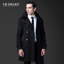 Британская жесткая мужская Черная Мужская ветровка пальто и длинные секции тонкие пальто пояс Мужчины Подлинная Мужская ветровка куртка