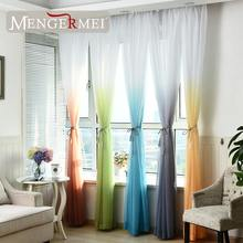 MENGERMEI 5 Colors Tulle Curtains for Living Room Rideaux Decorations Window Tende Kitchen Divider Garient Color Home XC-01(China)