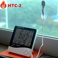 LCD Digital HTC-2 Thermometer Hygrometer Weather Station Temperature Humidity Tester Clock Alarm Indoor Outdoor Probe