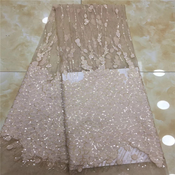 VILLIEA Glittery French Nigerian Laces Fabrics High Quality Sequins Tulle African Laces Fabric Wedding African French Tulle Lace