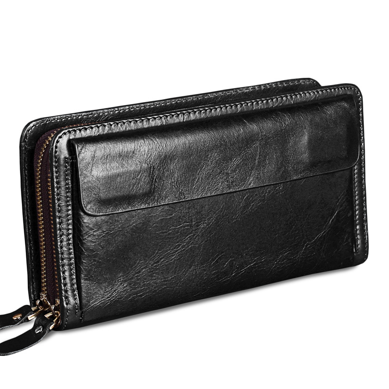 FSINNLV High Quality Genuine Leather Business Men Wallet Long Clutch Double Zipper Male Wallet Card Holder Men Coin Purse HB80 2016 hot sale wallet men long purse high quality pu leather stylish bifold business card holder coin wallet bolso masculino